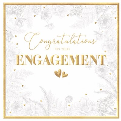 Gold Hearts Engagement Card