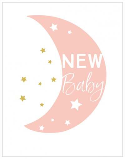 Pink Moon New Baby Card