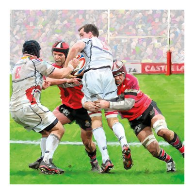 Rugby Tackle Greetings Card