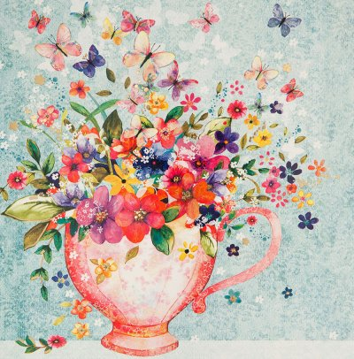 Flowers in Teacup Greeting Card