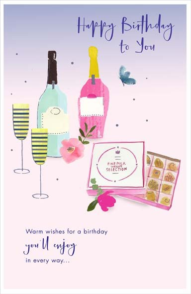 Wine and Chocolates Birthday Card