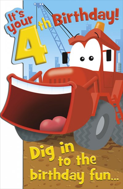 Digger 4th Birthday Card