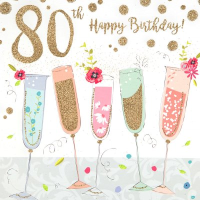 Champagne Sparkles 80th Birthday Card