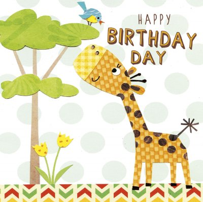 Giraffe Kids Birthday Card