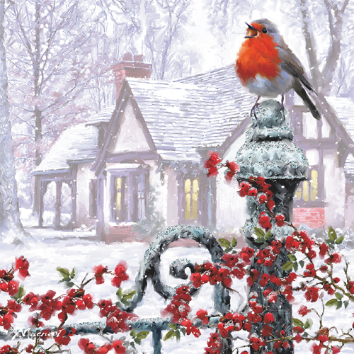 Robin on a Gatepost Personalised Christmas Card