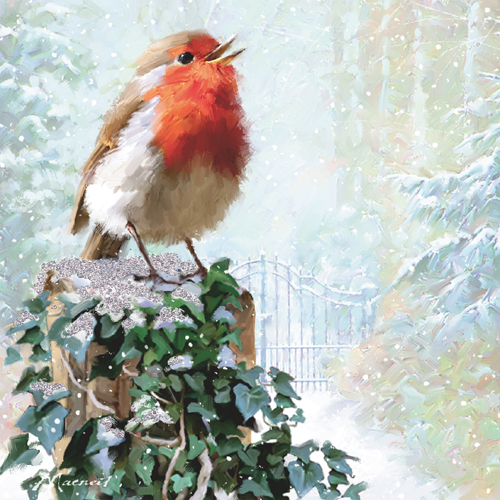 Robin on Ivy Personalised Christmas Card