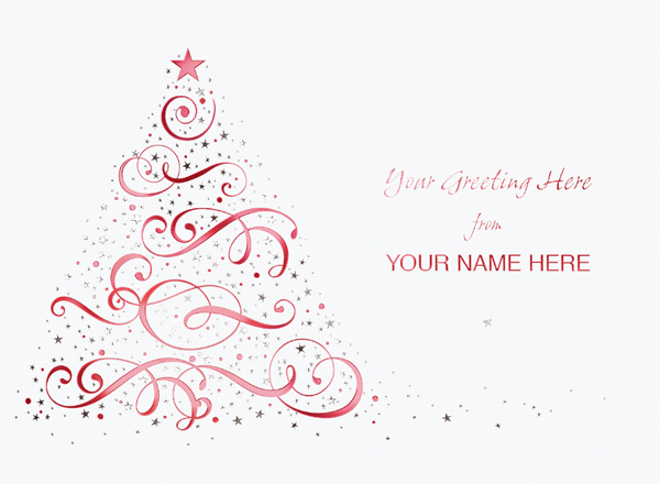 Contemporary Christmas Tree Front Personalised Christmas Card