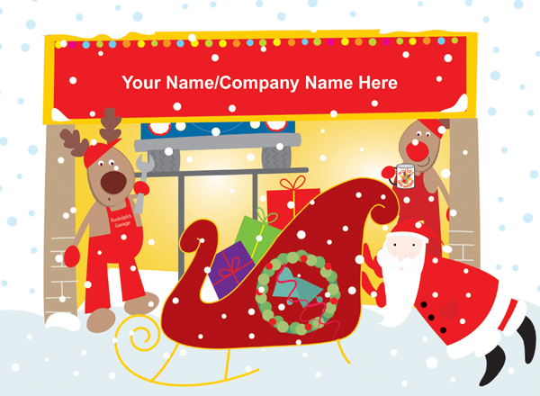 Rudolph's Garage Front Personalised Christmas Card