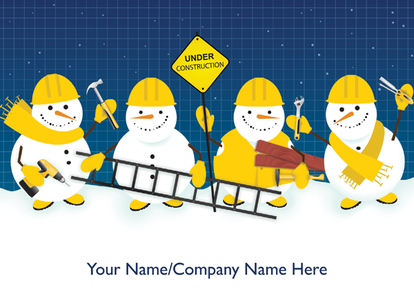 Construction Snowmen Front Personalised Christmas Card