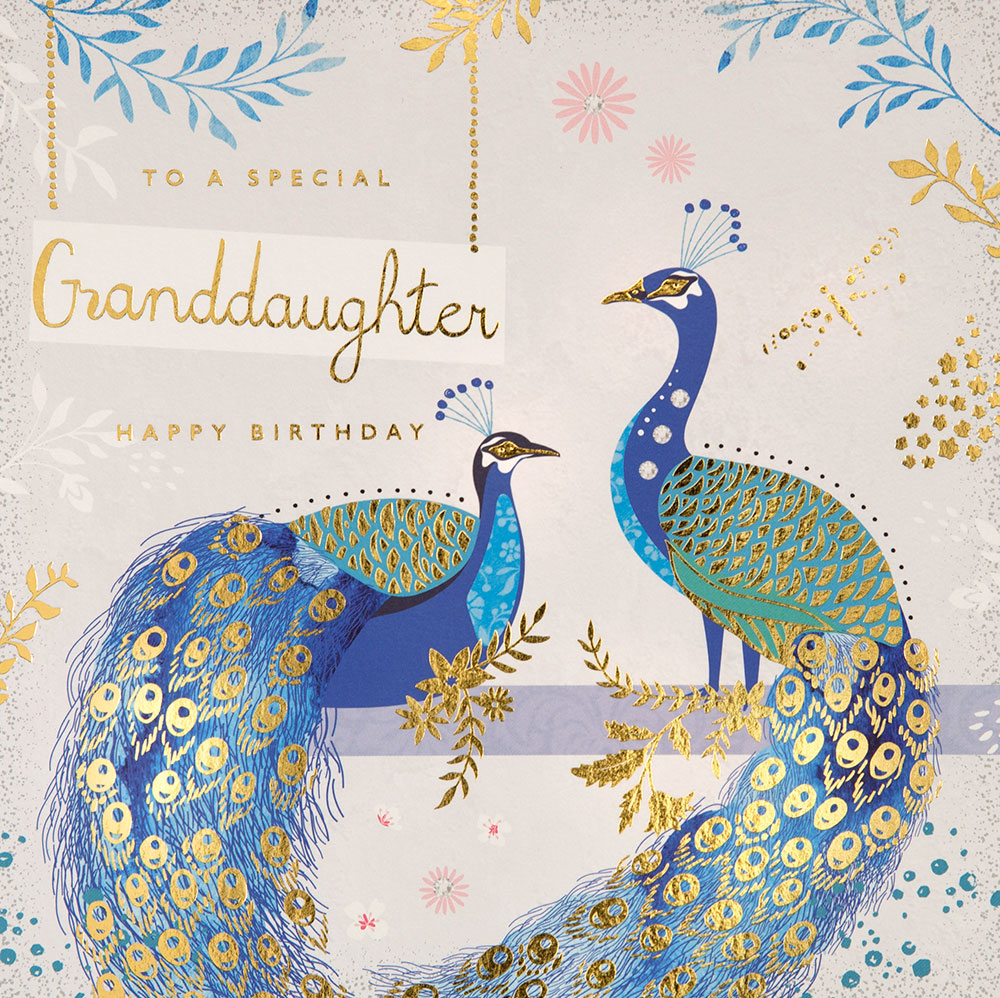 Peacocks Granddaughter Birthday Card