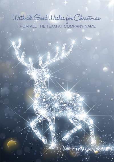 Illuminating Stag Front Personalised Christmas Card