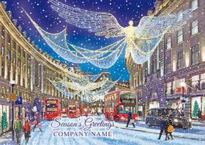 Regent Street at Christmas Personalised Christmas Card - Front Personalisation