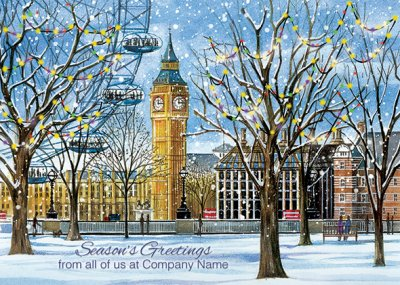 Big Ben from Jubilee Gardens Personalised Christmas Card - Front Personalisation