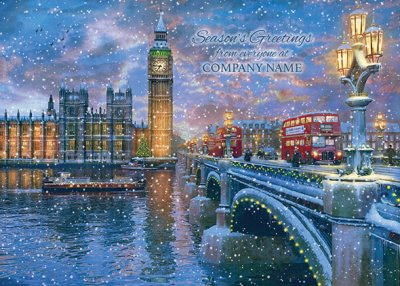 Westminster at Christmas Front Personalised Christmas Card