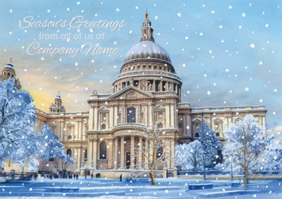 St Paul's Cathedral in Winter Personalised Christmas Card - Front Personalisation