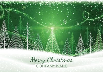 Contemporary Forest Personalised Christmas Card - Front Personalisation