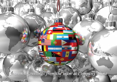 Baubles of the World Front Personalised Christmas Card