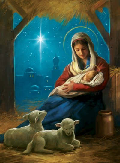 Madonna & Child Two Lambs Personalised Christmas Card
