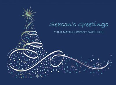 Silver Swirl Front Personalised Christmas Card