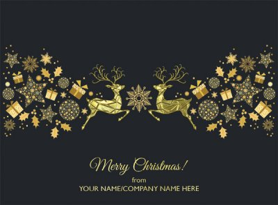 Golden Decoration Front Personalised Christmas Card