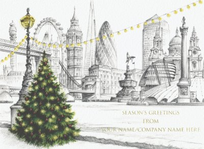 London Lights Front Personalised Christmas Card