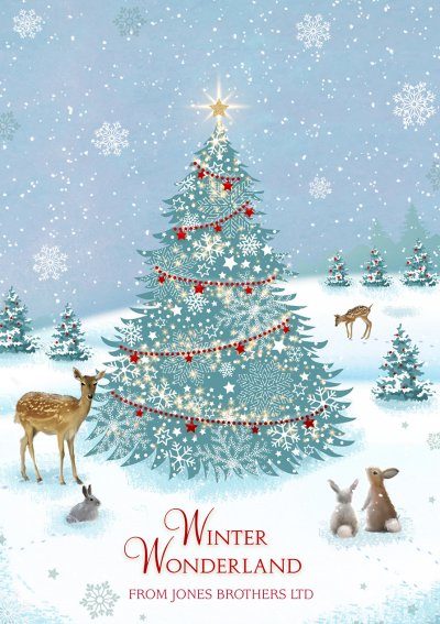 Woodland Winter Wonderland Front Personalised Christmas Card