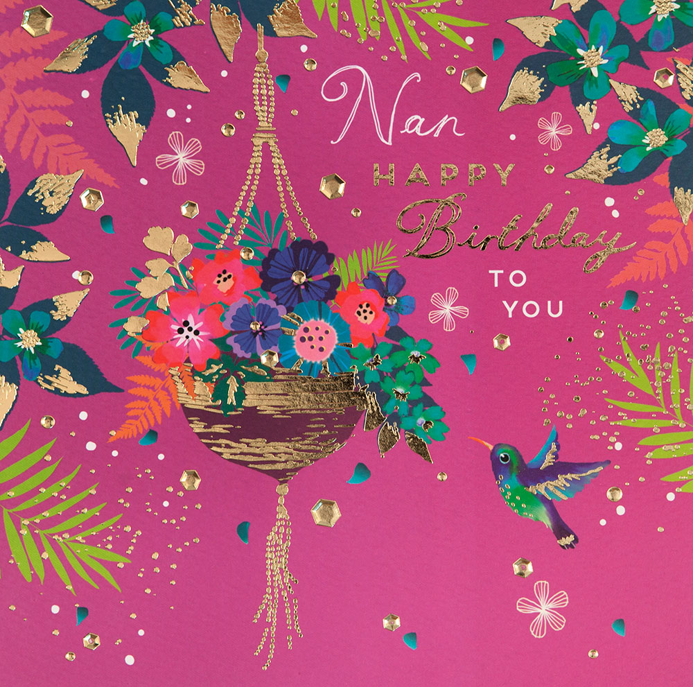 Hanging Basket Nan Birthday Card