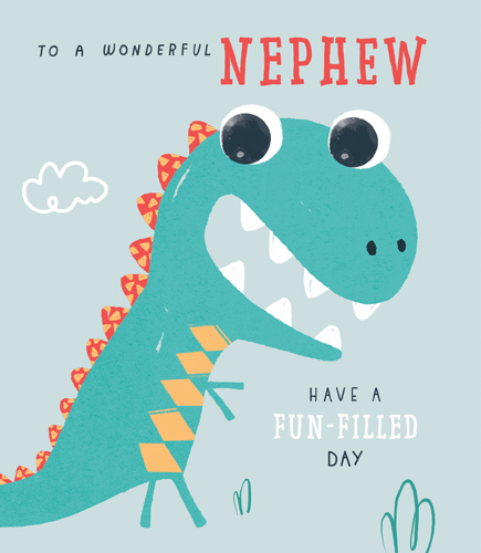 Dino Fun Nephew Birthday Card