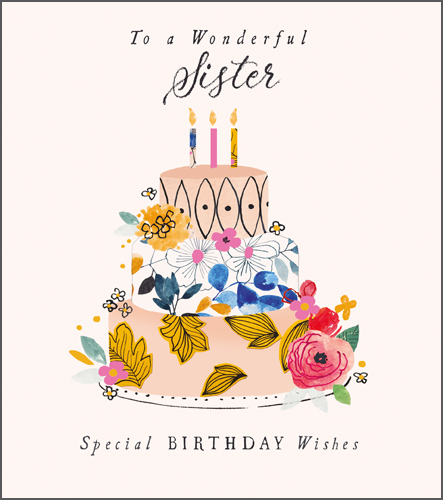 Floral Cake Sister Birthday Card