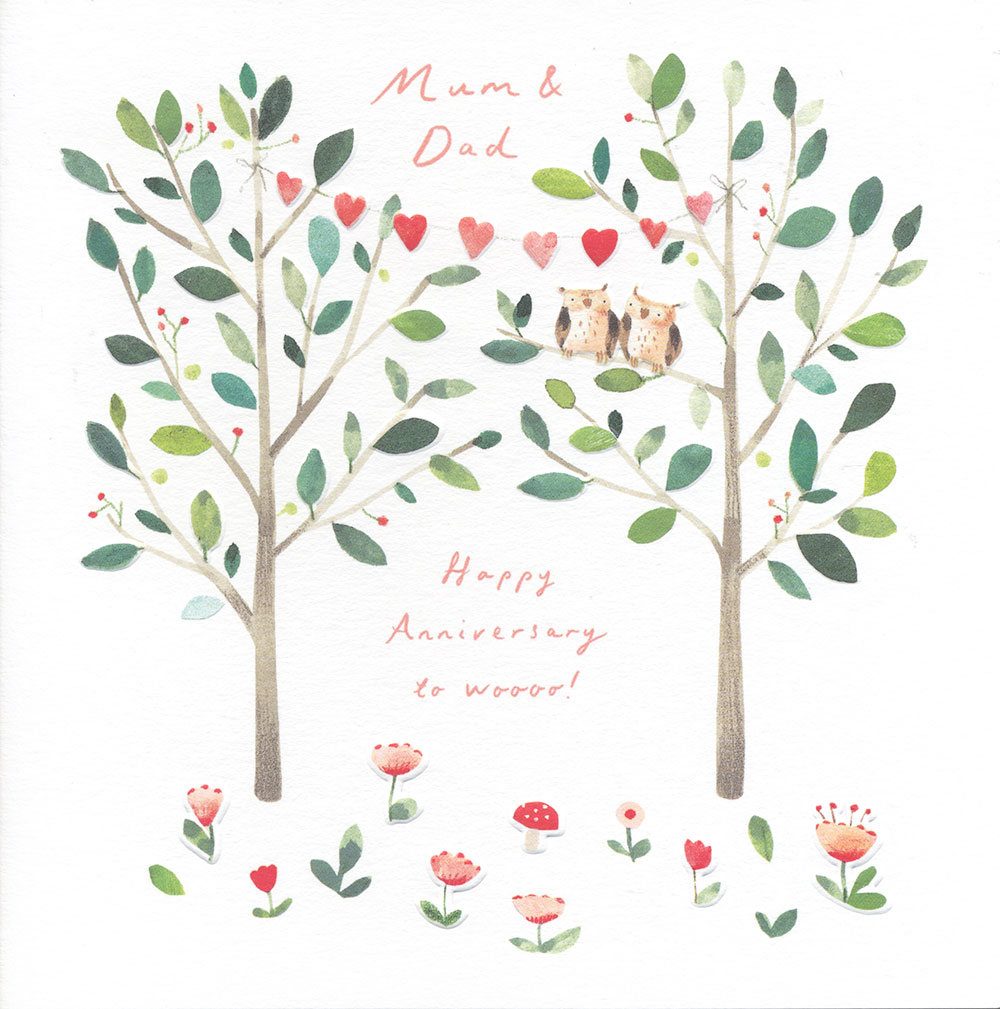 Lovebirds Mum and Dad Anniversary Card