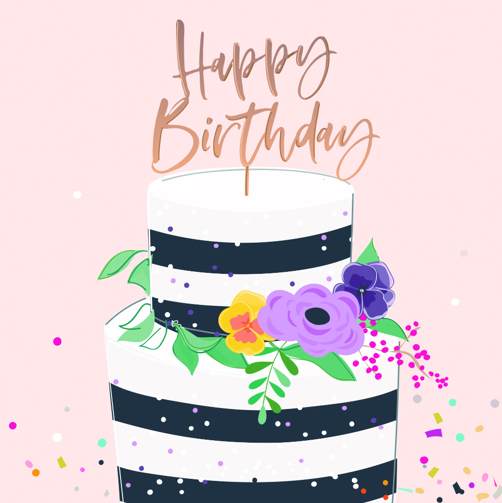 Striped Floral Cake Birthday Card