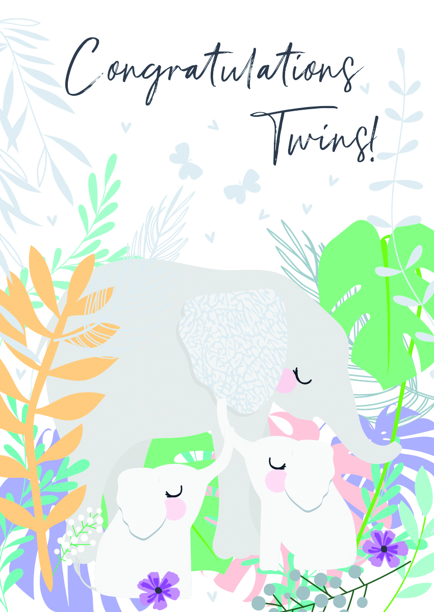 Congratulations Twins New Baby Card