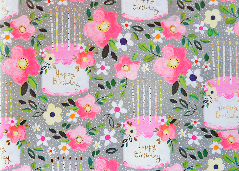 Floral Cake Birthday Wrapping Paper