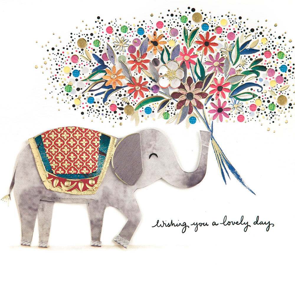 Golden Elephant Birthday Card