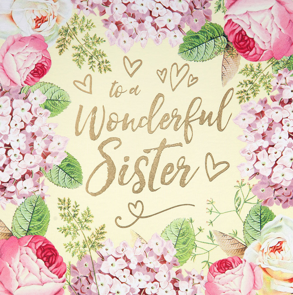 Vintage Floral Sister Birthday Card