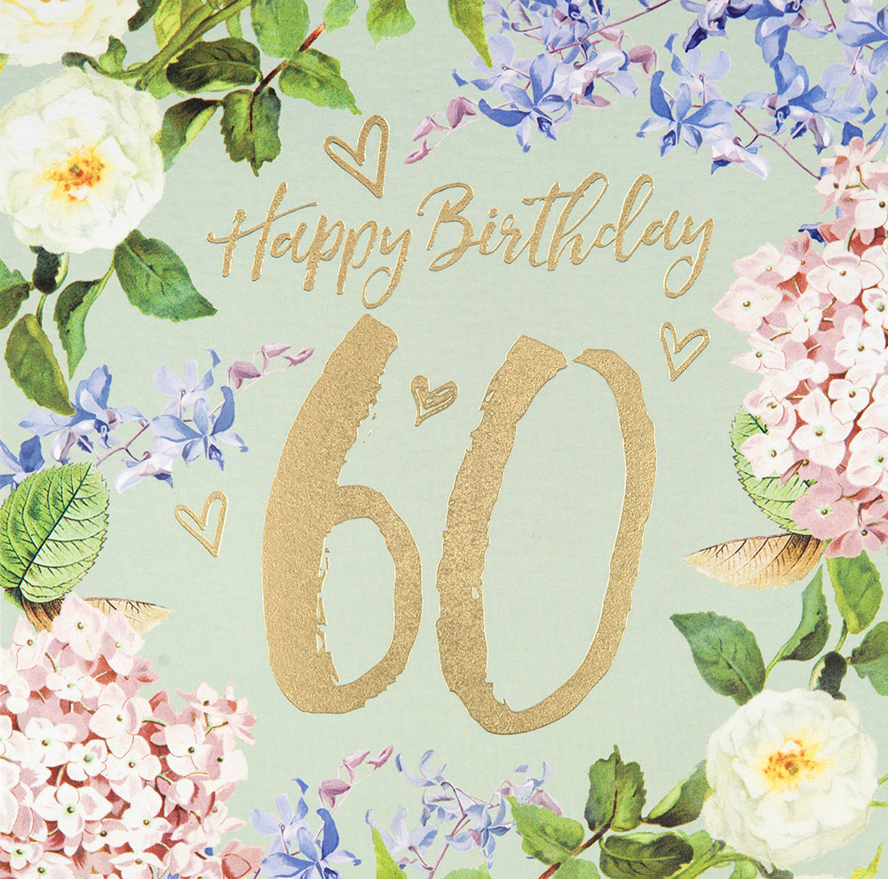 60th Vintage Floral Birthday Card