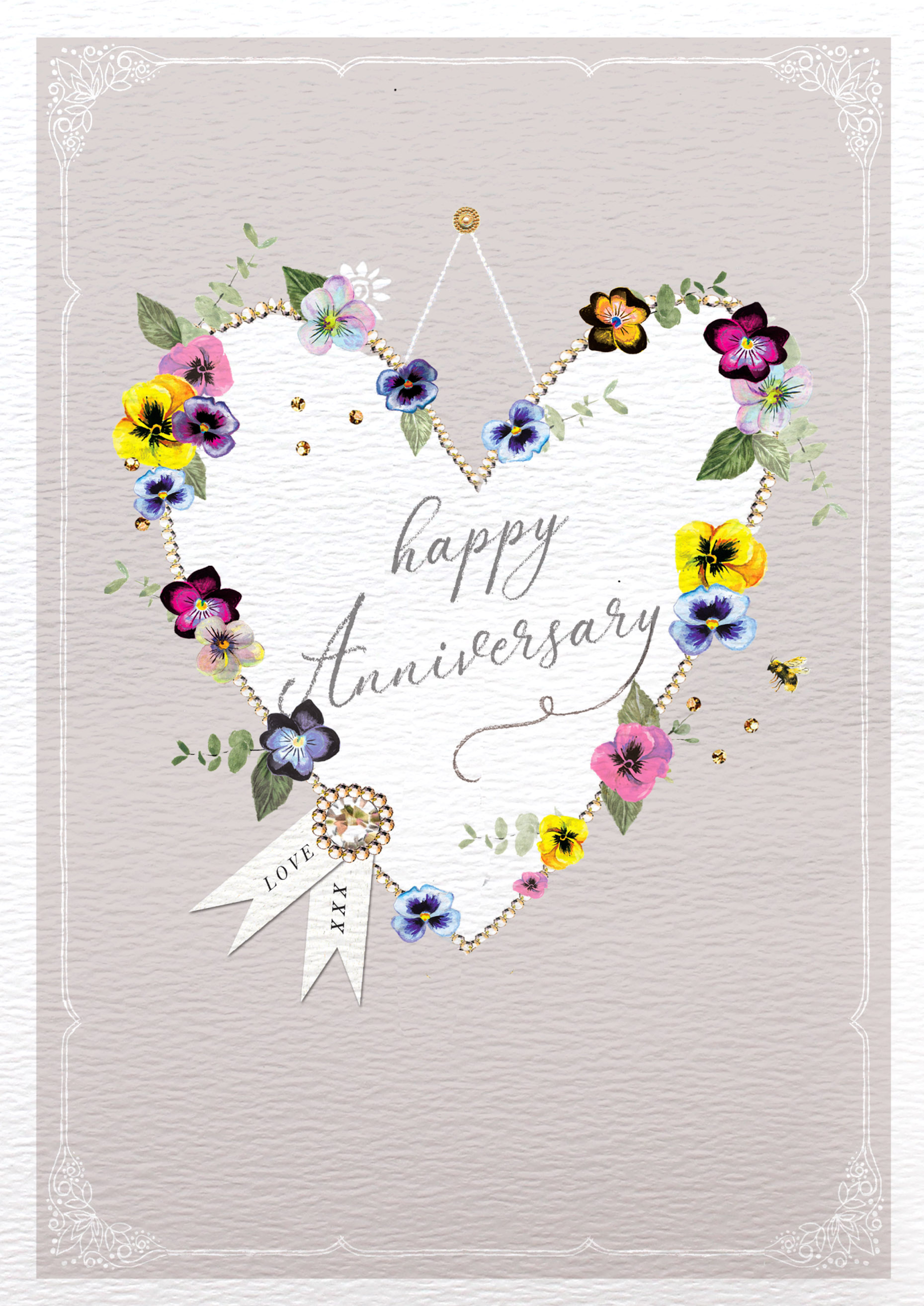 Hanging Heart Anniversary Card