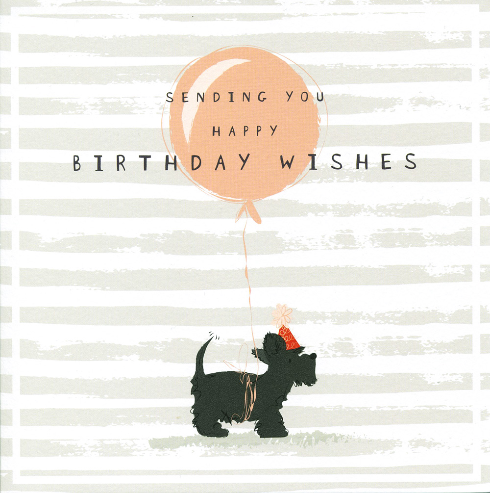 Dog and Balloon Birthday Card