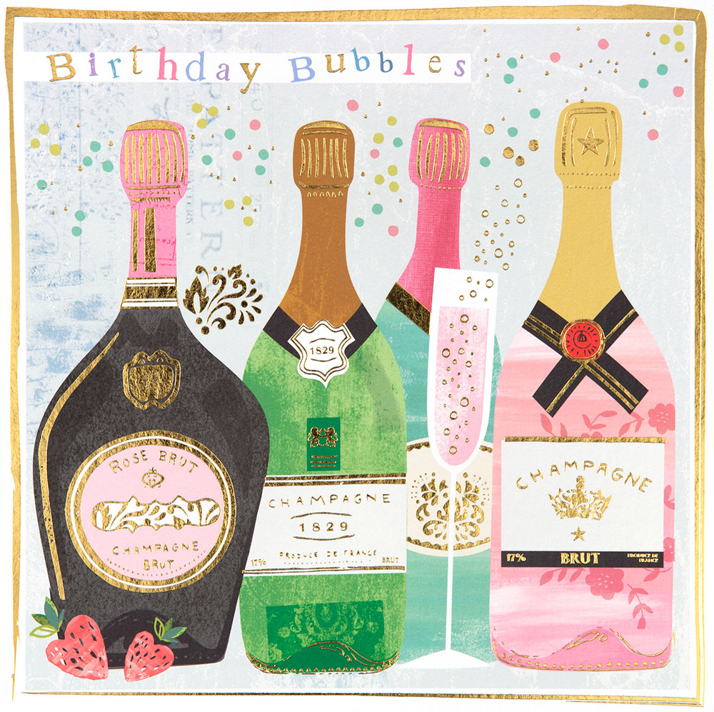 Champagne Bubbles Birthday Card