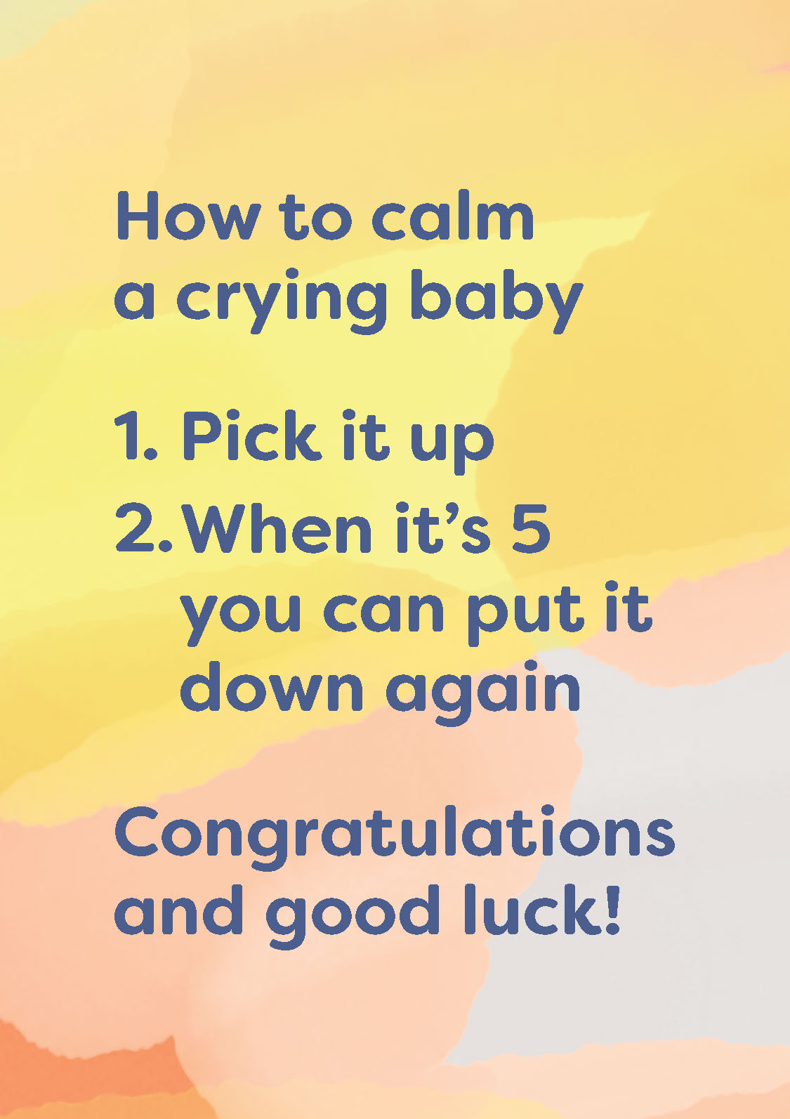 How To Calm a Crying Baby New Baby Card