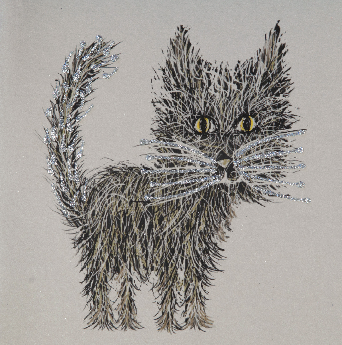 Glitter Whiskers Greeting Card