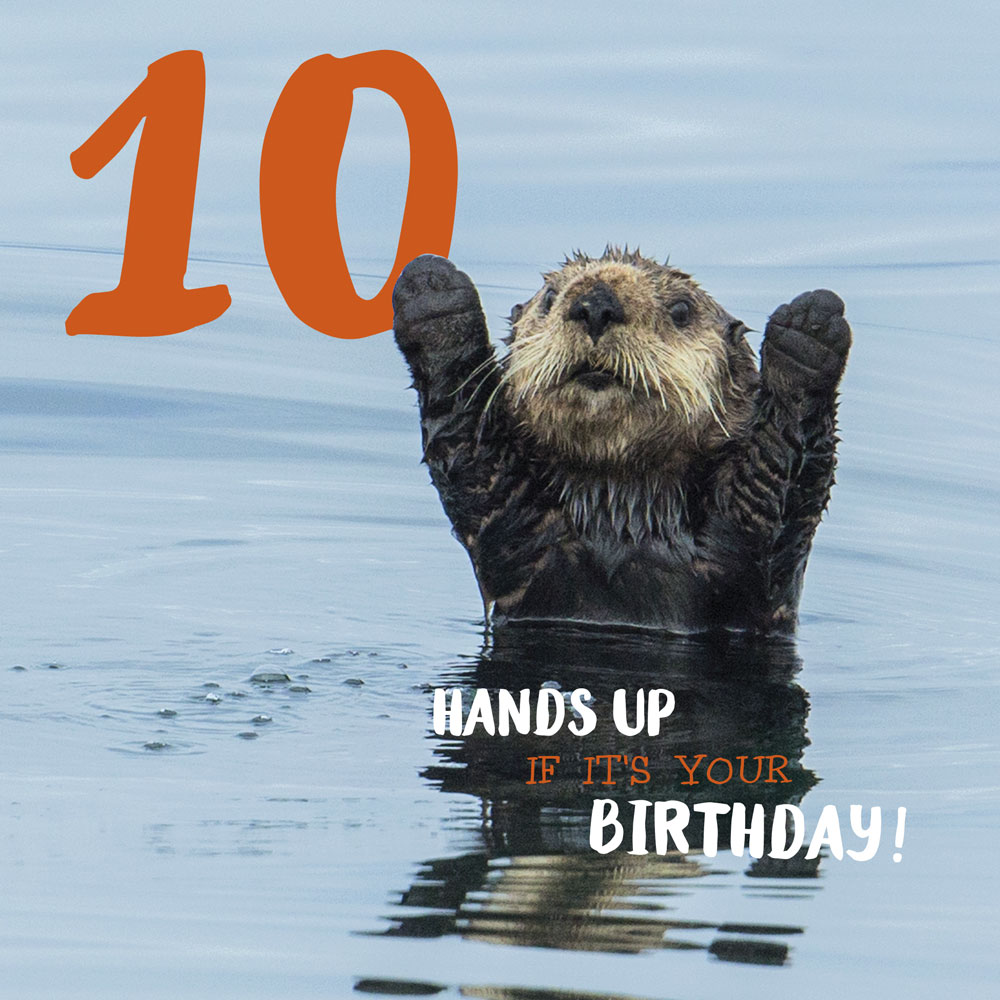 Hands Up 10th Birthday Card