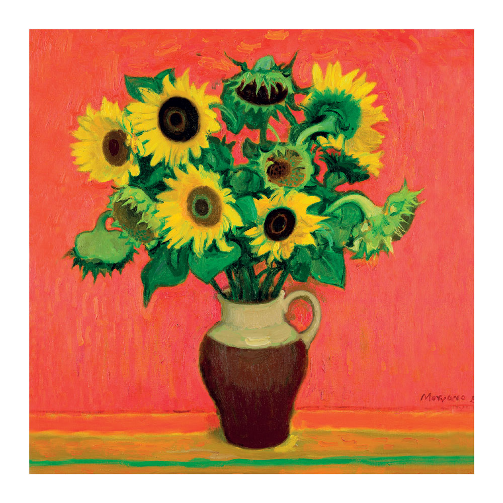 Sunflowers on Red Greeting Card