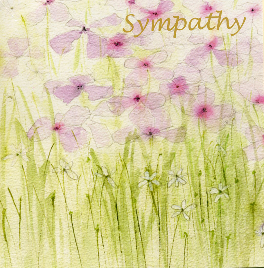 Pink Flowers Sympathy Card