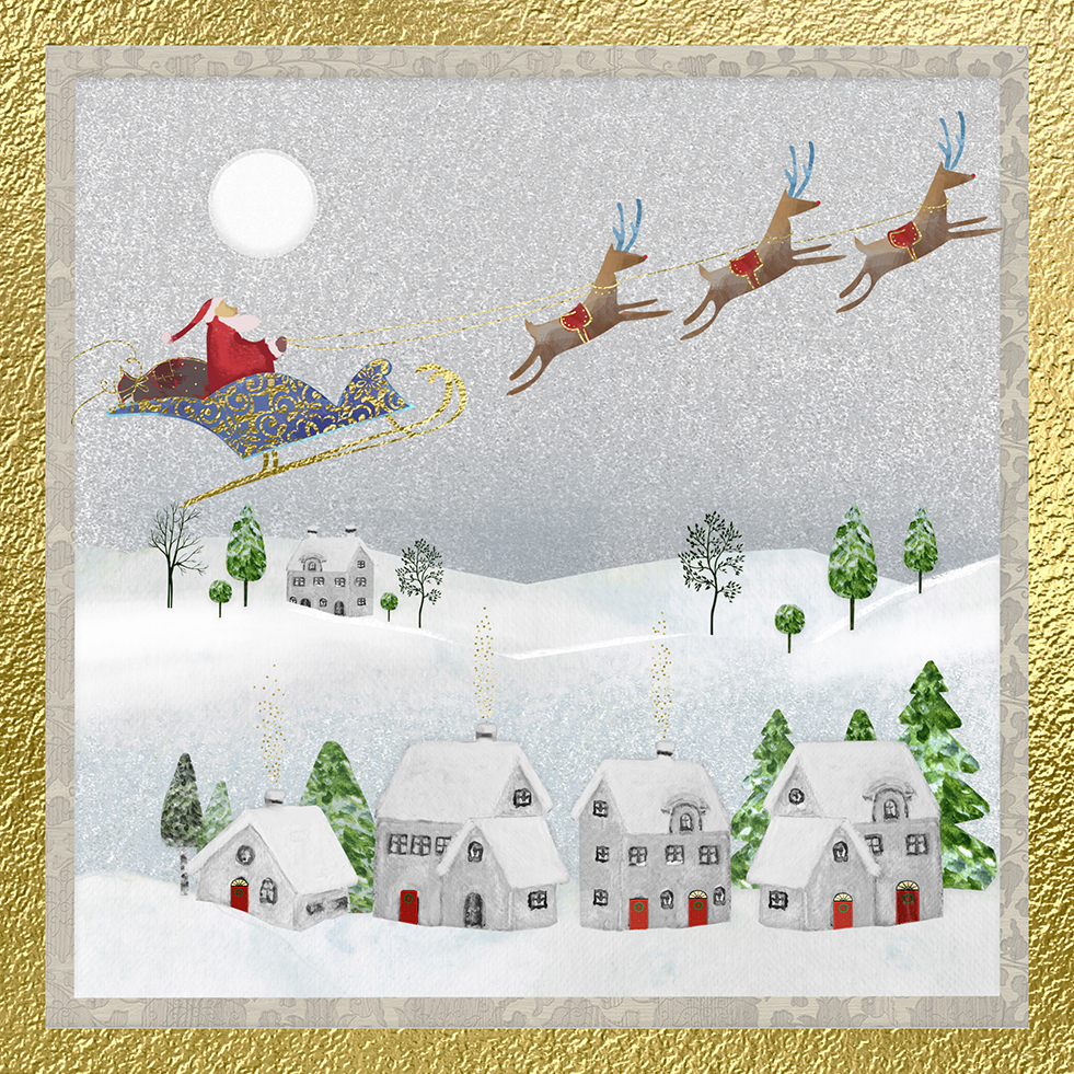 Above The Village Personalised Christmas Card