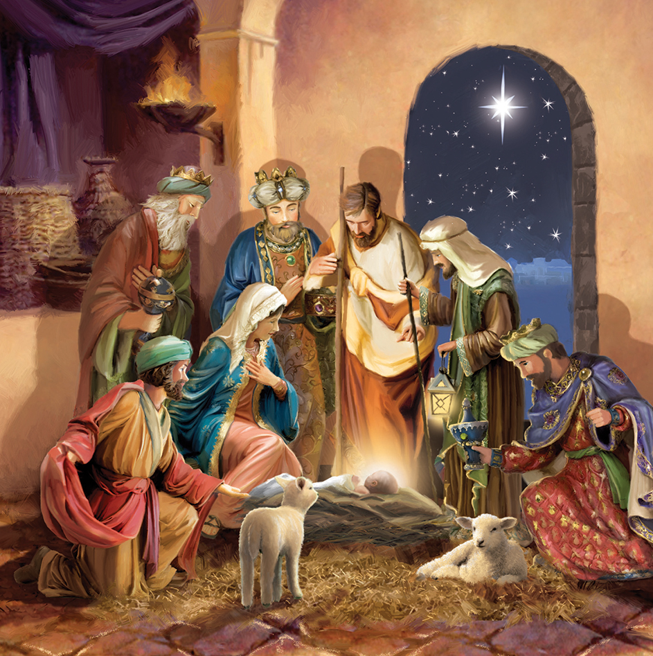 Adoration of New Baby Personalised Christmas Card