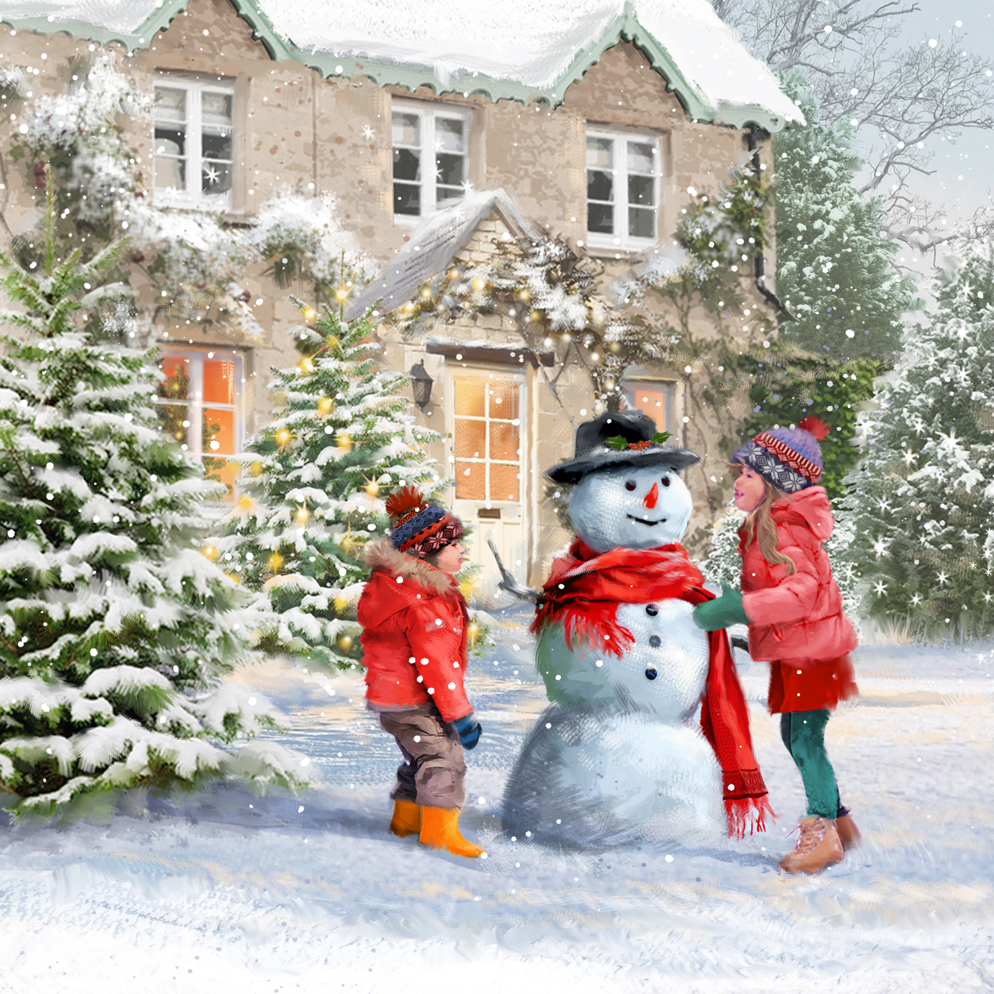 Joy of Building a Snowman Personalised Christmas Card