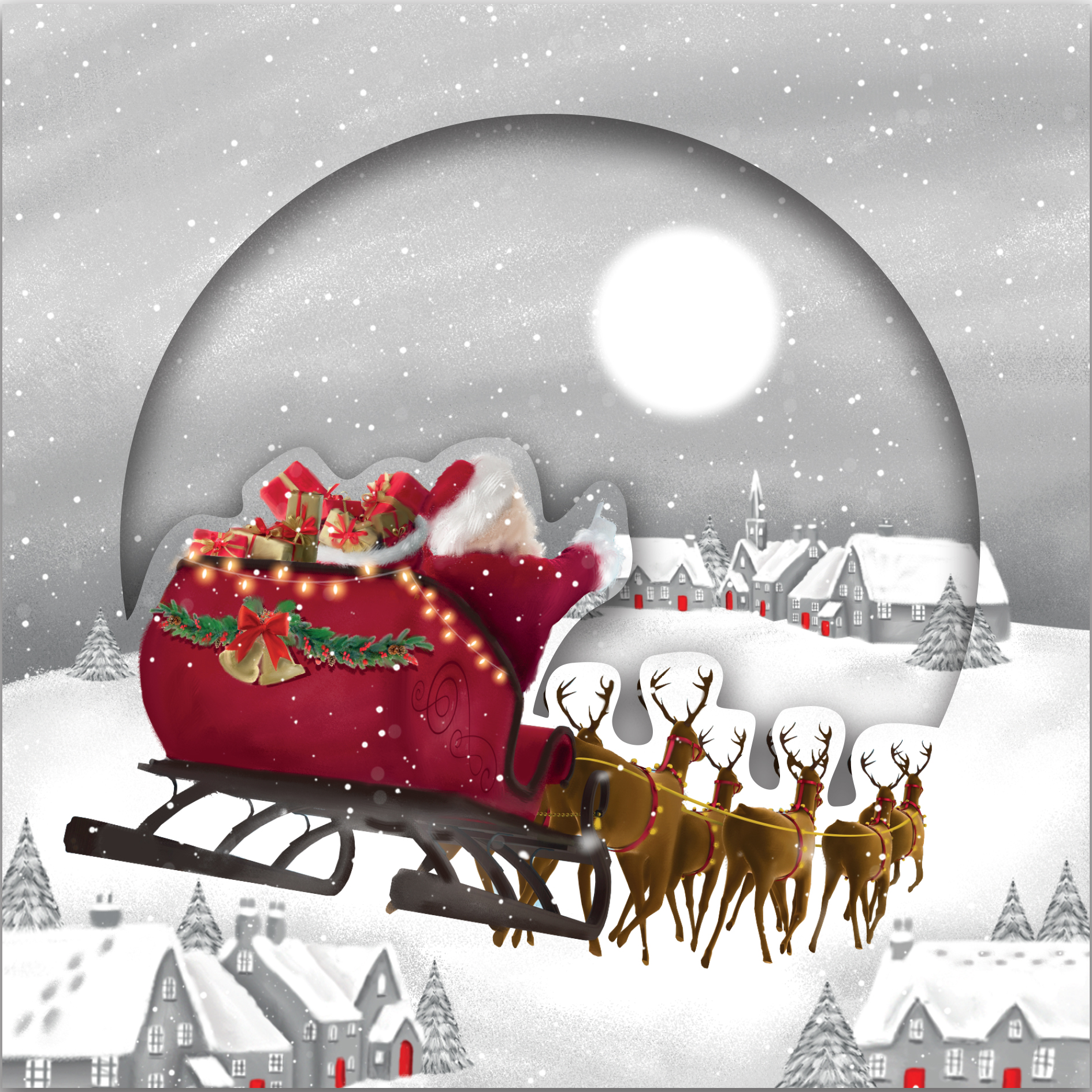 Flying Santa Personalised Christmas Card