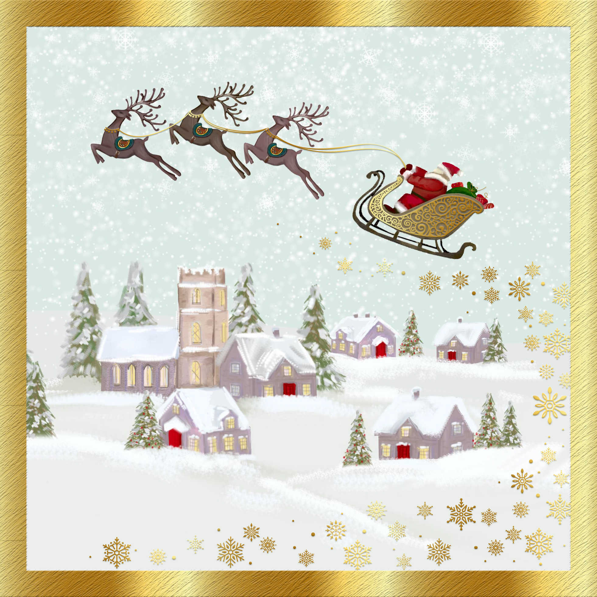 Flying Over The Rooftops Personalised Christmas Card