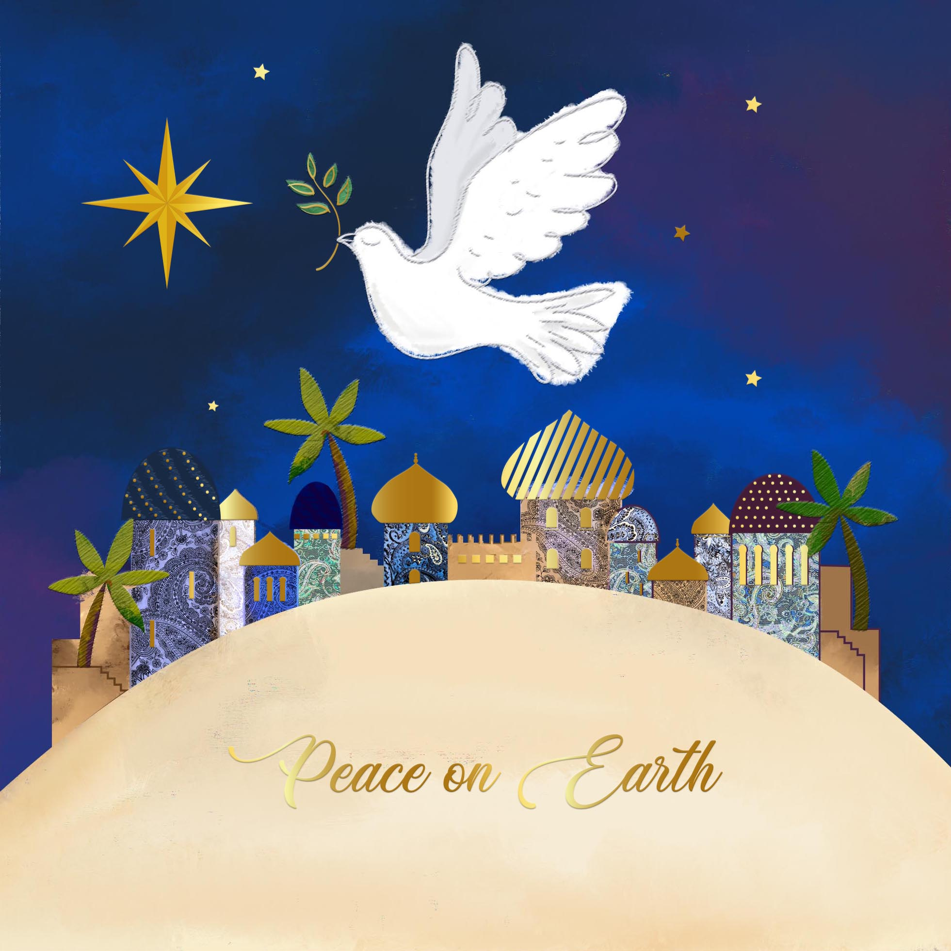 Peace on Earth Dove Personalised Christmas Card